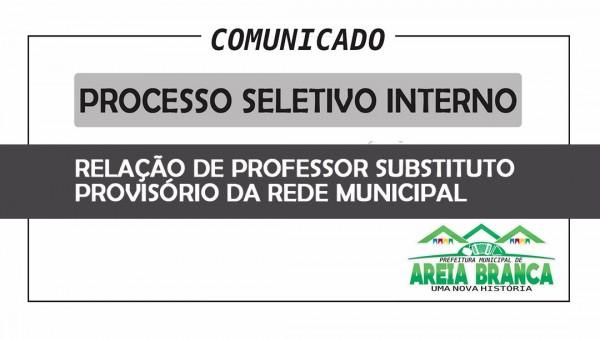 Termo Aditivo referente ao Processo Seletivo Interno para professor substituto