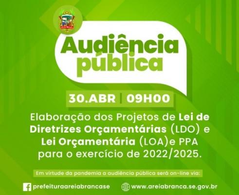Prefeitura realiza no dia 30 de abril Audiência Pública sobre a LDO, LOA e PPA